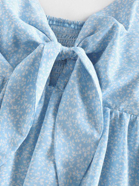 hot ZAFUL Ditsy Print Tied Smocked Peplum Camisole - LIGHT BLUE XL Mobile