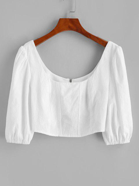 womens Scoop Neck Puff Sleeve Back Zip Crop Blouse - WHITE L Mobile