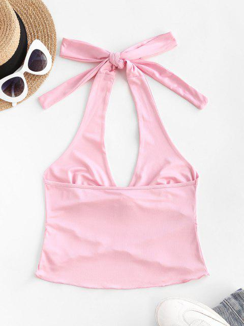 ladies Halter Tulip-hem Crop Tank Top - LIGHT PINK S Mobile