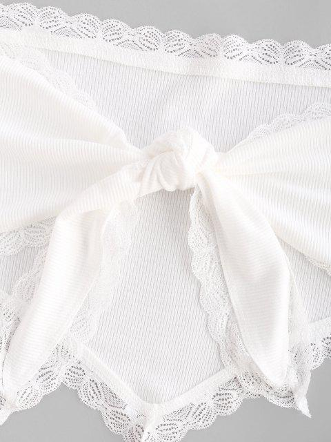 womens Rib-knit Lace Trim Knot Convertible Bandana Top - WHITE S Mobile