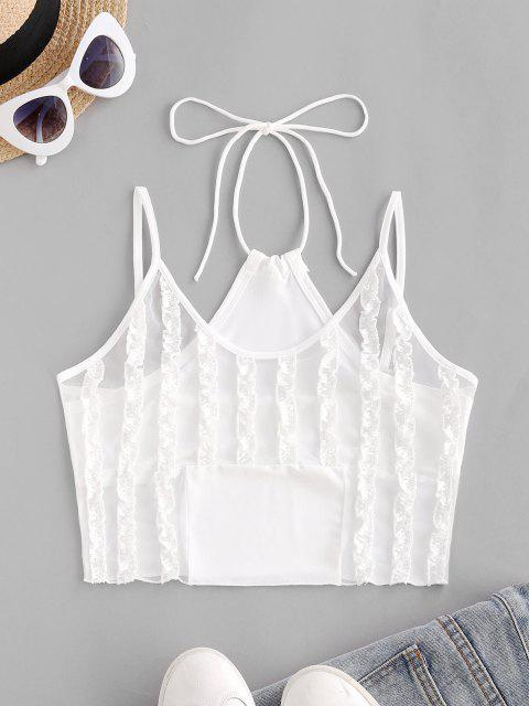 best Frilled Mesh Panel Crop Cami Top - WHITE M Mobile