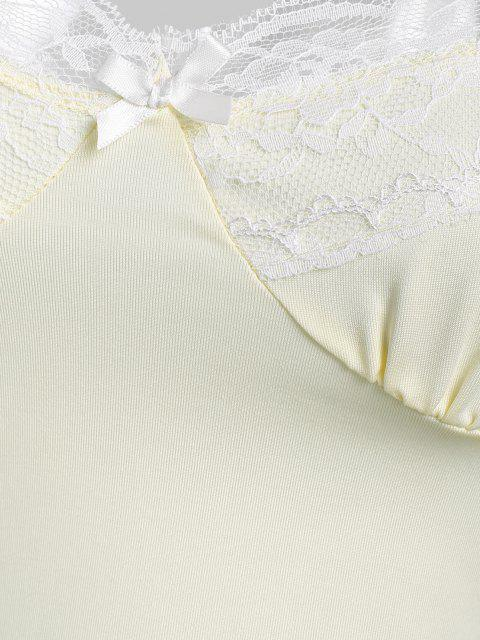 sale Lace Panel Bustier Crop Camisole - LIGHT YELLOW L Mobile