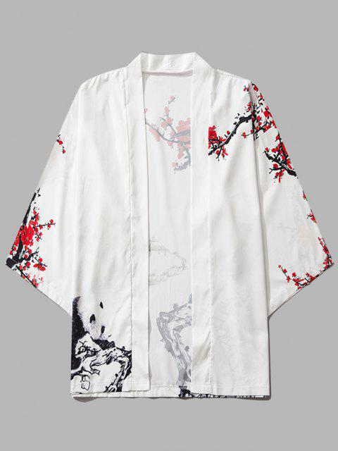 unique Panda Flower Paint Print Open Front Kimono Cardigan - MILK WHITE M Mobile