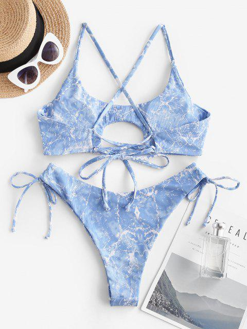 ZAFUL Gerippte Bikini Badebekleidung mit Marmordruck - Blau S Mobile