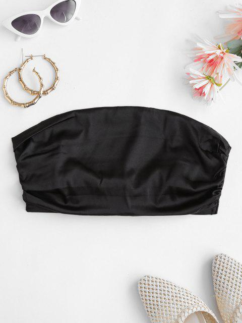 latest Ruched Tie Back Crop Tube Top - BLACK XL Mobile