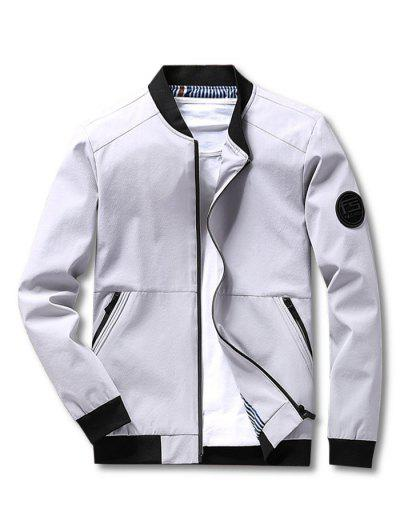 Stripes Lined Zippered Pockets Bomber Jacket - Light Gray Xs