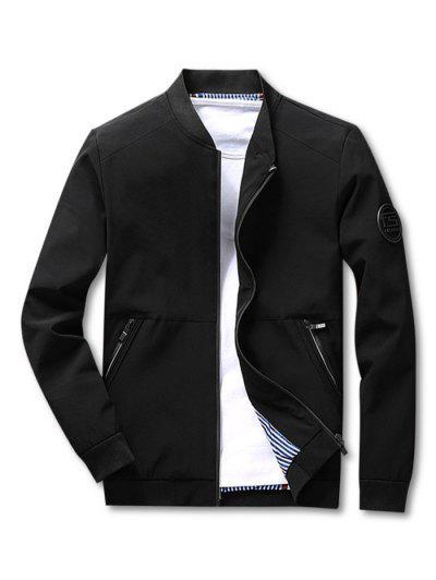 Stripes Lined Zippered Pockets Bomber Jacket - Black Xs