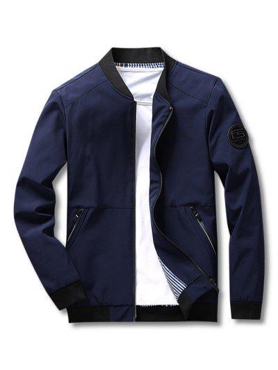 Stripes Lined Zippered Pockets Bomber Jacket - Deep Blue S