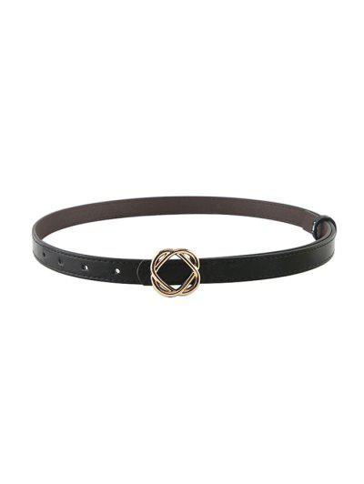 Flower Buckle PU Waist Belt - Black