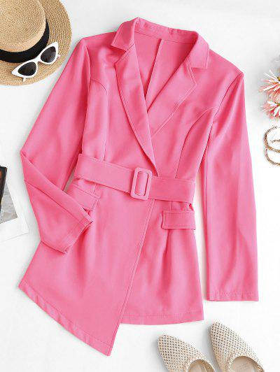 Lapel Belted Flap Detail Blazer - Light Pink S