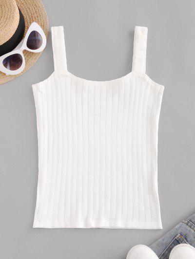 Knitted U Neck Slim Tank Top - White