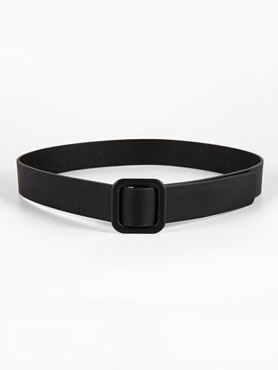 Solid Square Buckle Belt - Black