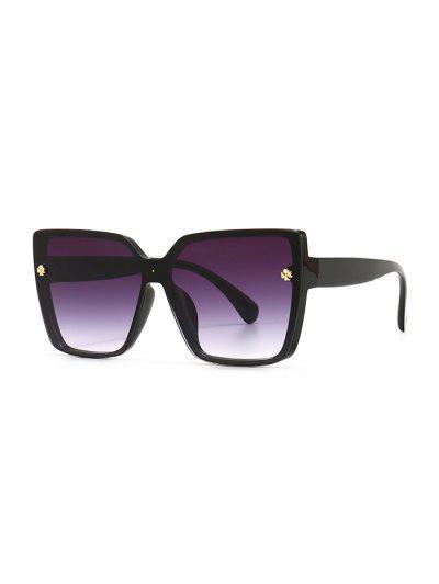 Full Frame Clover Detail Square Ombre Sunglasses - Black
