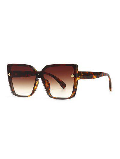 Full Frame Clover Detail Square Ombre Sunglasses - Leopard
