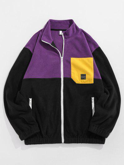 ZAFUL Applique Detail Contrast Fleece Jacket - Purple Xl