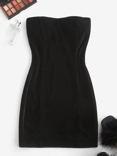 Padded Velvet Mini Tube Dress - Black