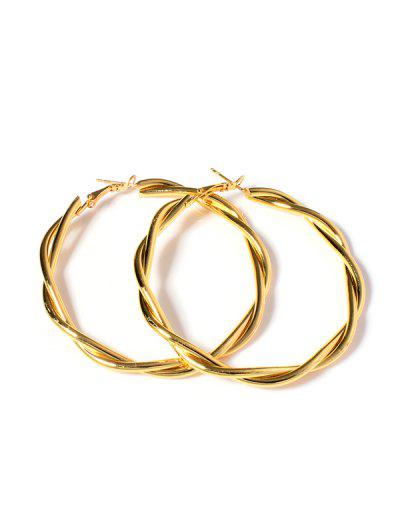 Twist 18K Gold Plated Hoop Earrings - Golden