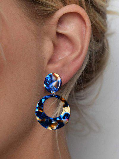 Hollow Round Colorblock Earrings - Blue