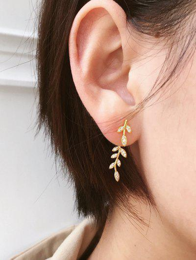 Leaf Shape Rhinestone Earrings - Golden