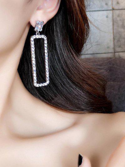 Hollow Geometric Rhinestone Earrings - Silver