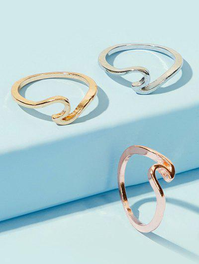 3Pcs Brief Sea Wave Shape Ring Set - Multi-a