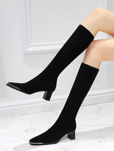Block Heel Suede Knee Length Boots - Natural Black Eu 37