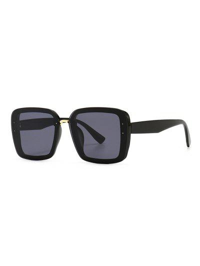 Full Frame Retro Square Sunglasses - Black