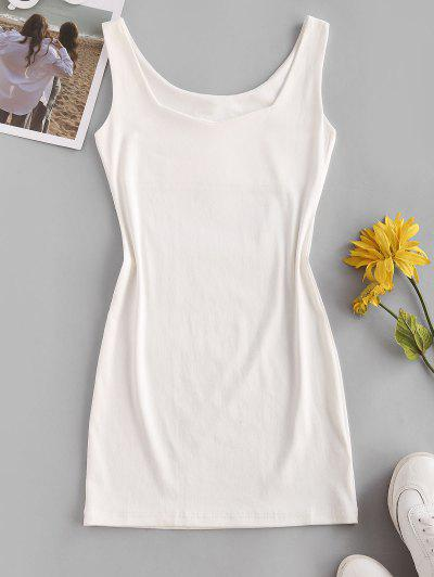 Sweetheart Neck Bodycon Mini Tank Dress - White