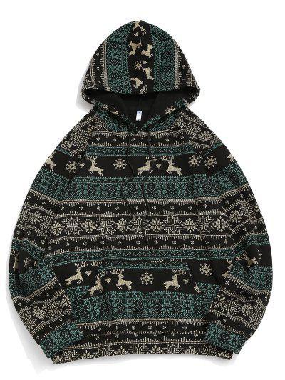 Christmas Snowflake Elk Print Fleece Hoodie - Black L