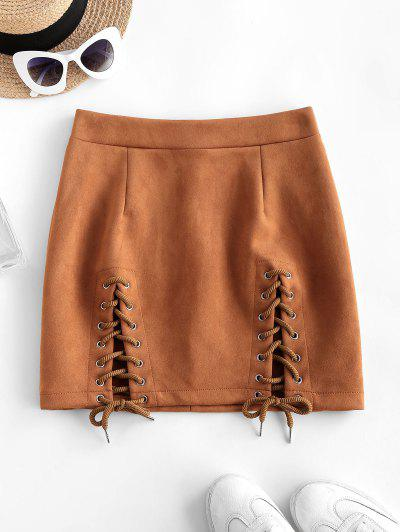 Lace-up Suede Bodycon Skirt - Coffee L
