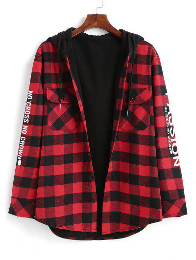 Plaid Passion Slogan Print Fleece Lined Hooded Shirt Jacket - Red S