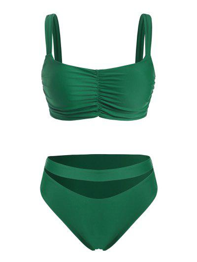 ZAFUL High Waisted Ruched Cut Out Plus Size Bikini Swimwear - Deep Green Xxxxl