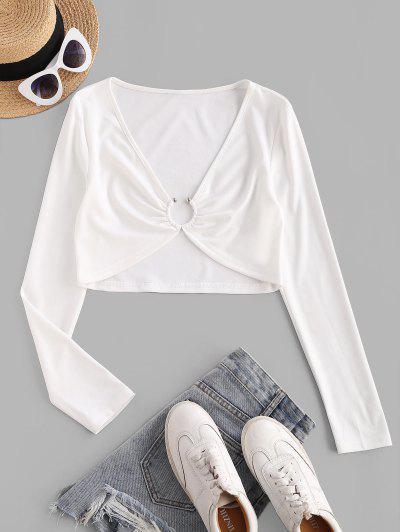 ZAFUL Ring Linked Plunging Crop T Shirt - White M