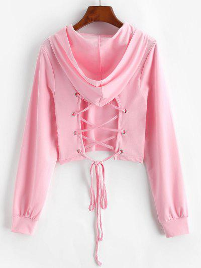 Lace-up Open Back Crop Hoodie - Light Pink S