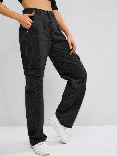 Pockets High Waisted Wide Leg Cargo Jeans - Black M