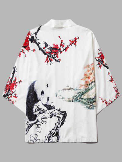 Panda Flower Paint Print Open Front Kimono Cardigan - Milk White Xl