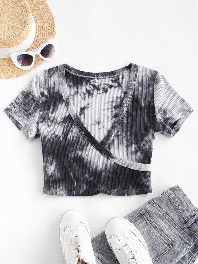 ZAFUL Ribbed Tie Dye Surplice Cropped Tee - Black S
