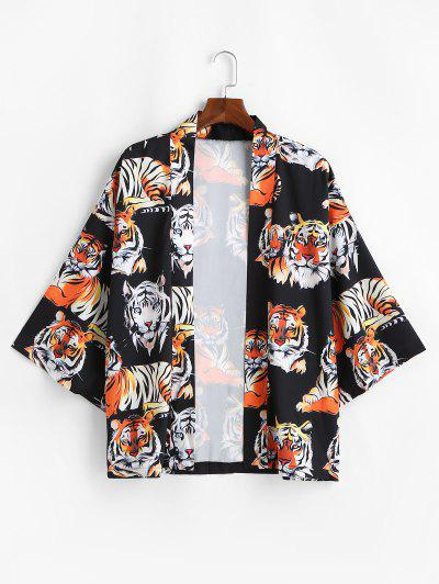 Open Front Tiger Pattern Kimono Cardigan - Black Xl
