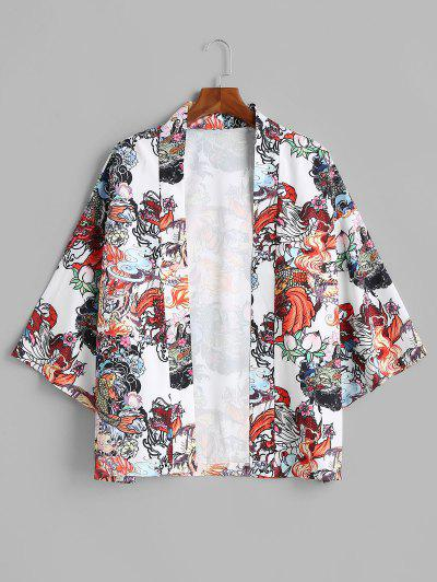 Dragon Koi Fish Print Chinoiserie Kimono Cardigan - Milk White L
