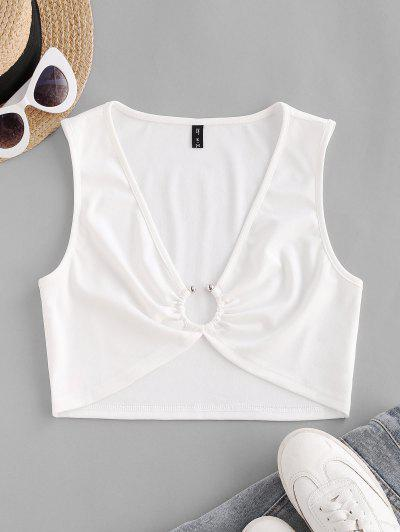 Plunging Ring Linked Crop Tank Top - White M