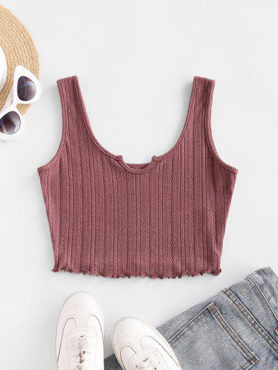ZAFUL Lettuce Trim Notched Knitted Crop Top - Rosy Brown L