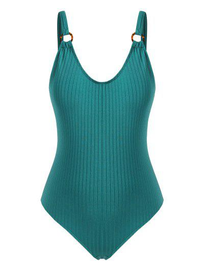 ZAFUL O-ring Ribbed Plus Size One-piece Swimsuit - Deep Green Xxxxl