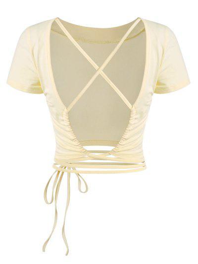 T-Shirt Casuale Asimmetrica In Tinta Unita Con Collo Alto Senza Schienale - Giallo Chiaro S