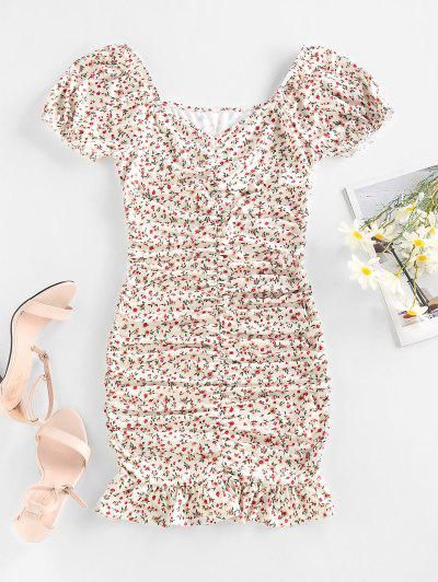 ZAFUL Ditsy Print Puff Sleeve Ruched Mini Mermaid Dress - White M