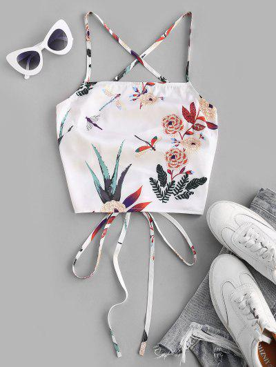 ZAFUL Lace Up Crisscross Printed Crop Top - White S