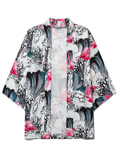 Sea Waves Flamingo Print Open Front Kimono Cardigan - Blush Red L