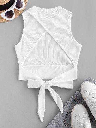 Rib-knit Back Knot Cutout Crop Top - White M