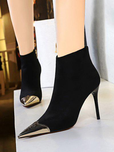 Metal Pointed Toe Suede Boots - Black Eu 37