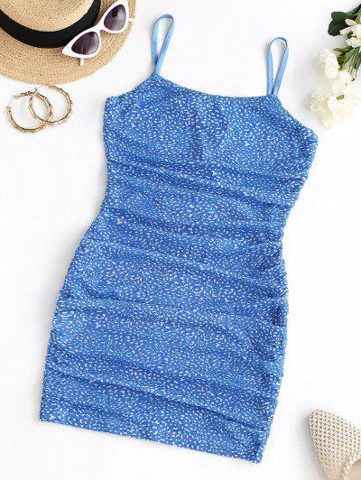 Maschen Ditsydruck Rückenfreies Geraffte Cami Kleid - Blau S