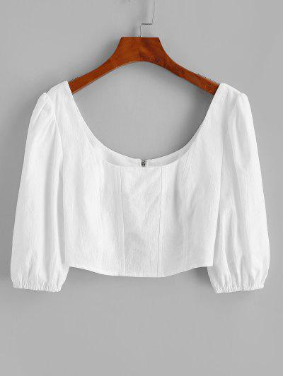 Scoop Neck Puff Sleeve Back Zip Crop Blouse - White M
